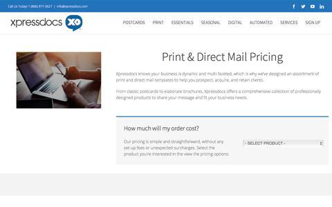 Screenshot of Pricing Page xpressdocs.com - Print & Direct Mail Pricing - Xpressdocs Marketing Platform & Solutions - captured Jan. 15, 2018