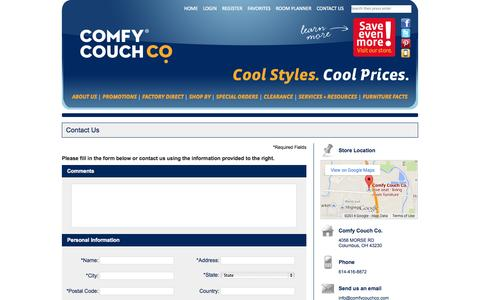 Screenshot of Contact Page Maps & Directions Page comfycouchco.com - Contact Comfy Couch Co. in Columbus - captured Oct. 22, 2014