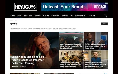 Screenshot of Press Page heyuguys.com - Movie News, Trailers, Interviews Direct from Hollywood - captured Sept. 28, 2018