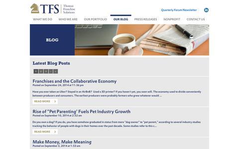 Screenshot of Blog thomasfranchisesolutions.com - BLOG | Thomas Franchise Solutions - captured Sept. 30, 2014