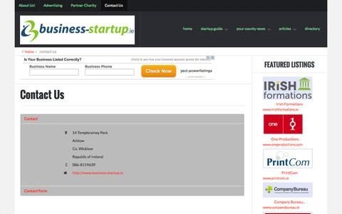 Screenshot of Contact Page business-startup.ie - Contact Us - captured Nov. 3, 2014