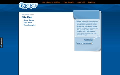 Screenshot of Site Map Page flypaper.com - Site Map   Flypaper - captured July 19, 2014