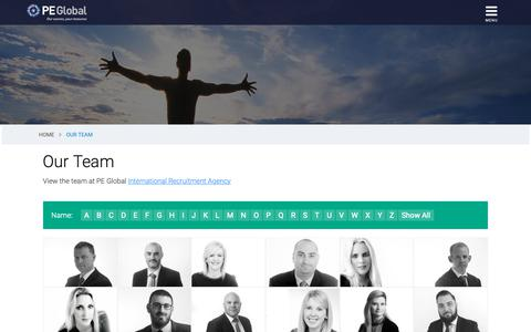 Screenshot of Team Page peglobal.net - Meet the PE Global Team - Our recruitment consultants have years of relevant industry experience - captured Nov. 4, 2018