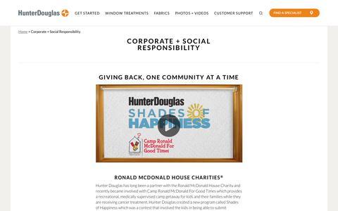 Corporate & Social Responsibility | Hunter Douglas