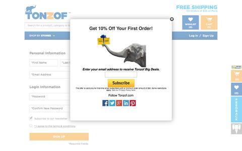 Screenshot of Signup Page tonzof.com - Sign Up - Tonzof.com - captured Oct. 29, 2014