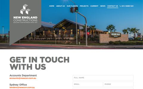 Screenshot of Contact Page newenglandconstructions.com.au - Contact Us - captured Sept. 21, 2018
