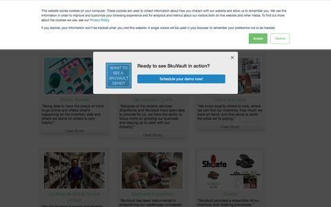 Screenshot of Case Studies Page skuvault.com - SkuVault Warehouse Management System · Case Studies - captured July 30, 2018