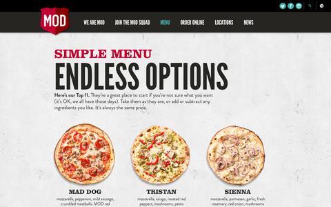 Screenshot of Menu Page modpizza.com - Menu | MOD Pizza - captured Sept. 30, 2014