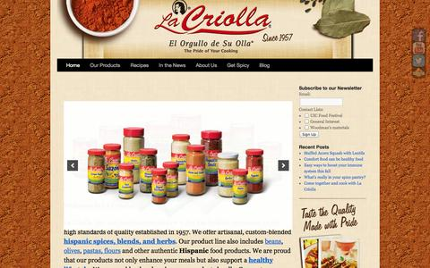 Screenshot of Home Page lacriolla.com - La Criolla : Authentic Hispanic Spices in Chicago - captured Oct. 1, 2014