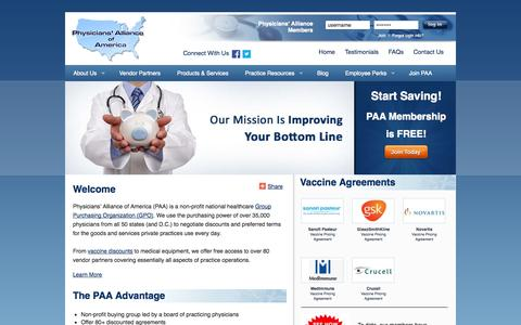 Screenshot of Home Page physall.com - A Nationwide Group Purchasing Organization - captured Oct. 2, 2014