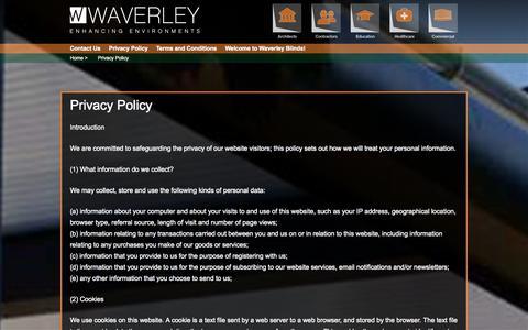 Screenshot of Privacy Page waverleyblinds.com - Privacy Policy | Waverley Blinds - captured Nov. 5, 2014
