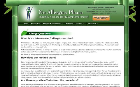 Screenshot of FAQ Page noallergiesplease.com - FAQs - No Allergies Please - captured Nov. 19, 2018