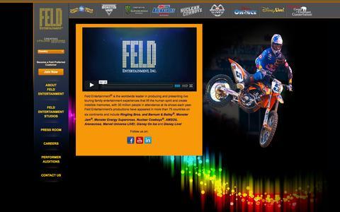 Screenshot of Home Page feldentertainment.com - Feld Entertainment [Home] - captured Sept. 19, 2014