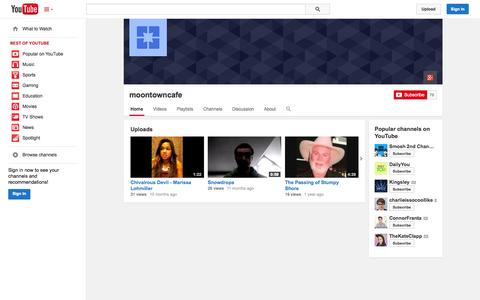Screenshot of YouTube Page youtube.com - moontowncafe  - YouTube - captured Nov. 4, 2014