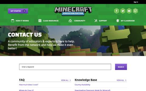 Screenshot of Contact Page minecraft.net - Contact Us | Minecraft: Education Edition - captured Dec. 27, 2016