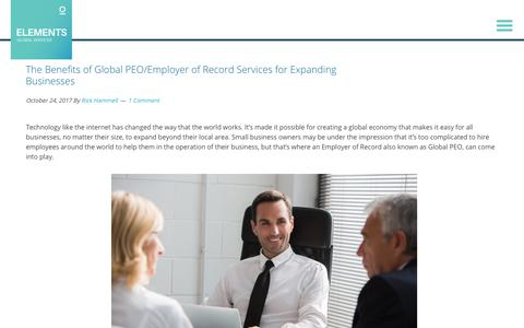Screenshot of Services Page elementsgs.com - The Benefits of Global PEO/Employer of Record Services for Expanding Businesses - captured Jan. 20, 2020