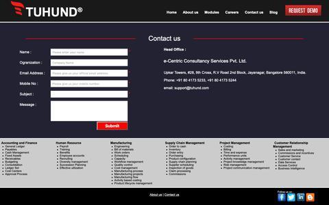 Screenshot of Contact Page tuhund.com - ERP Solution - Enterprise Resource Planning - TUHUND ERP - captured Nov. 15, 2018