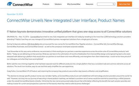 Screenshot of Press Page connectwise.com - ConnectWise Unveils New Integrated UI and Product Names - captured Jan. 3, 2020