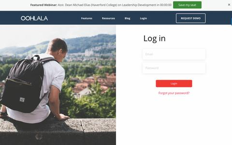 Screenshot of Login Page oohlalamobile.com - OOHLALA - Improving the Student Experience - captured Nov. 29, 2016
