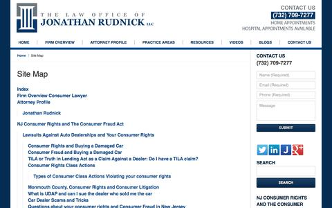 Screenshot of Site Map Page consumer-attorney.com - Site Map :: Monmouth County, New Jersey Lemon Law Lawyer The Law Office of Jonathan Rudnick LLC - captured July 16, 2017