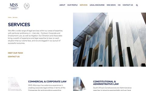 Screenshot of Services Page mnsattorneys.co.za - Legal Advice and Services | 100 Years Combined Experience | MNS Attorneys - captured July 26, 2018