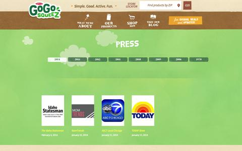 Screenshot of Press Page gogosqueez.com - In the News   GoGo squeeZ Press - captured Oct. 27, 2014