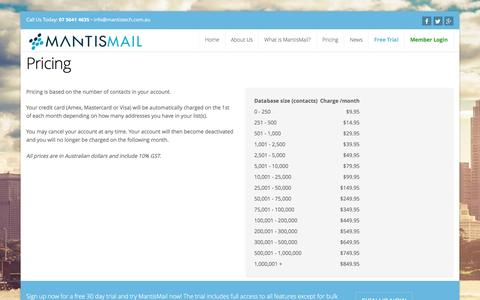 Screenshot of Pricing Page mantismail.com.au - Email Marketing and Newsletter Solutions Australia | MantisMail - captured Dec. 5, 2016