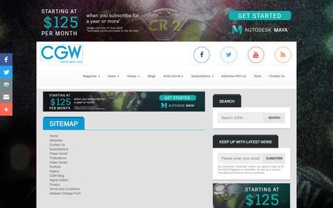 Screenshot of Site Map Page cgw.com - Site Map | Computer Graphics World - captured Nov. 10, 2016
