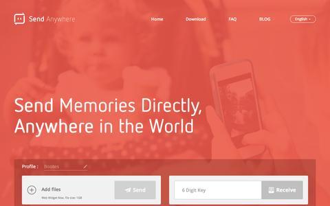 Screenshot of Home Page send-anywhere.com - Send Anywhere – Send Directly, Anywhere in the World. - captured Dec. 30, 2015