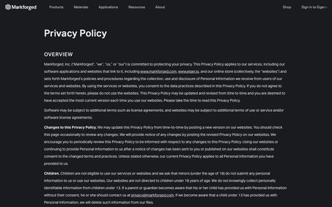 Screenshot of Privacy Page markforged.com - Privacy Policy | Markforged - captured Oct. 8, 2018