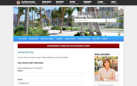 Screenshot of Contact Page wpb.org - Contact the City | City of West Palm Beach - captured Sept. 23, 2014
