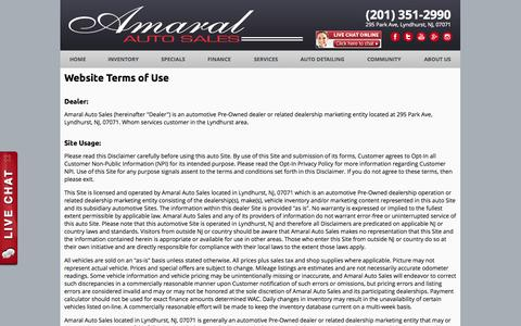 Screenshot of Terms Page amaralautosales.com - Terms of Use - captured Oct. 4, 2014