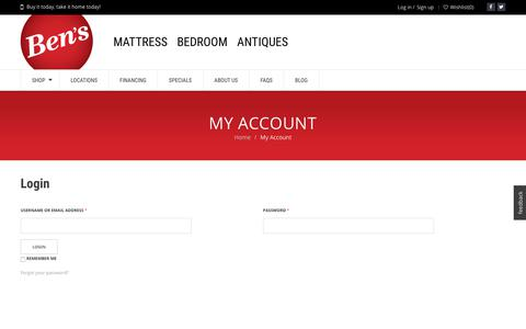 Screenshot of Signup Page Login Page bens.com - Account Manager | Atlanta's #1 Discount Store | Ben's Mattress and Furniture Store - captured Oct. 10, 2017