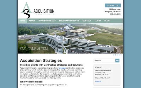 Screenshot of Home Page acquisition-strategies.com - Acquisition Strategies | Contracting Strategies | Government Contractors | Contract Administration | Source Selection | Project | Claim Analysis | Advanced Planning | Procurement - - captured Sept. 30, 2014