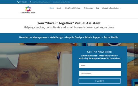 Screenshot of Home Page teamvirtualassist.com - Virtual Assistant supporting coaches, consultants and small business owners get more done. - captured Aug. 11, 2015