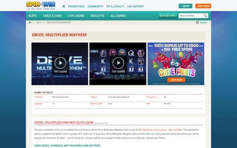 Screenshot of spinandwin.com - Play Drive: Multiplier Mayhem Slots - £500 Slots Bonus - SpinandWin.com - captured March 19, 2016