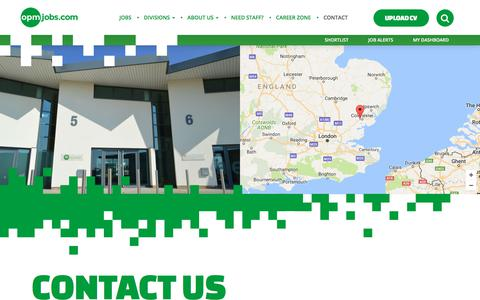 Screenshot of Contact Page opmjobs.com - Contact , Call +44 (0)1206 214421 - OPM Recruitment - captured Oct. 23, 2017