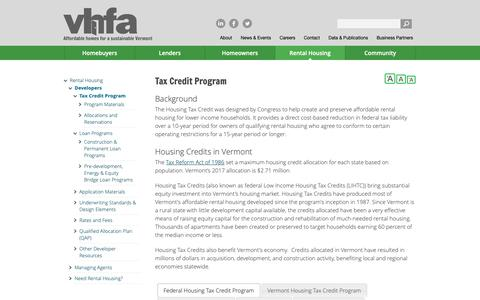 Screenshot of Developers Page vhfa.org - Tax Credit Program | VHFA.org - Vermont Housing Finance Agency - captured Oct. 19, 2018
