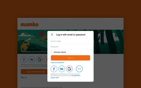 Screenshot of Login Page mamba.ru - Mamba dating website is the largest free dating and chat site in Russia and the CIS. - captured Nov. 7, 2018
