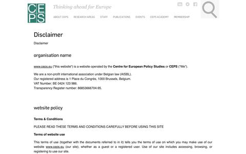 Screenshot of Terms Page ceps.eu - Disclaimer | Centre for European Policy Studies - captured Sept. 25, 2018