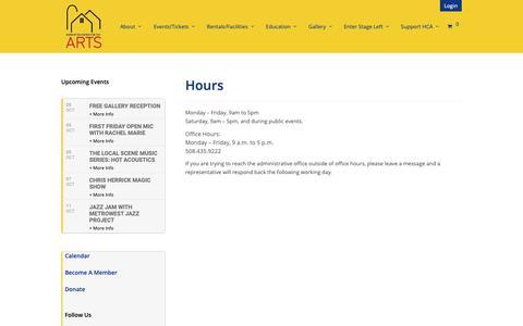 Screenshot of Hours Page hopartscenter.org - Hours | Hopkinton Arts - captured Sept. 29, 2018