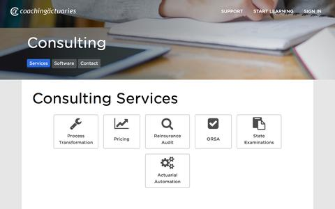 Screenshot of Services Page Pricing Page coachingactuaries.com - Consulting Services - Coaching Actuaries - captured Nov. 17, 2016