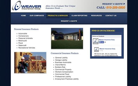 Screenshot of Services Page weaverinscorp.com - Commercial and Personal Insurance Plans - Products & Services - captured Nov. 4, 2014