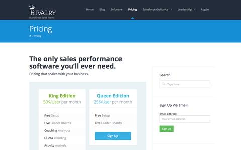Screenshot of Pricing Page rivalry.com - Rivalry Pricing - Sales Performance Management Software - captured Sept. 19, 2014