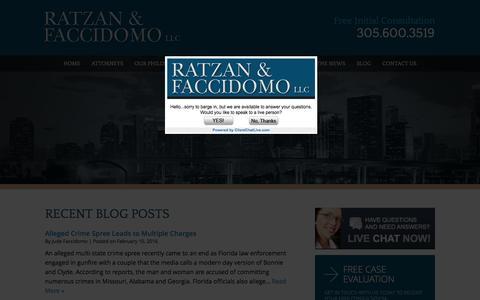 Screenshot of Blog rflawgroup.com - Alleged Crime Spree Ends In Florida | Miami Criminal Defense Lawyers - captured Feb. 13, 2016