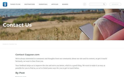 Screenshot of Contact Page gapyear.com - Contact Us - captured March 11, 2018