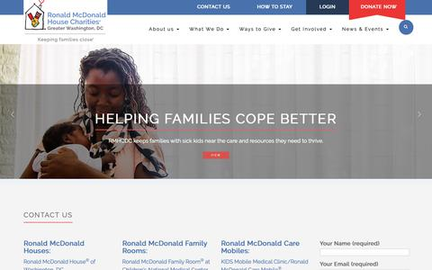 Screenshot of Contact Page rmhcdc.org - Contact us – Ronald McDonald House Charities® of Greater Washington, DC - captured Oct. 19, 2018
