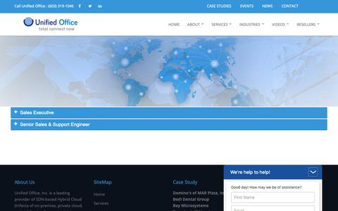 Screenshot of Jobs Page unifiedoffice.com - Careers | Unified Office provids cloud VoIP/UC business solutions for SMBs. - captured Oct. 20, 2018
