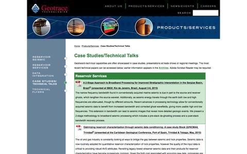 Screenshot of Case Studies Page geotrace.com - Case Studies/Technical Talks - captured Nov. 5, 2016