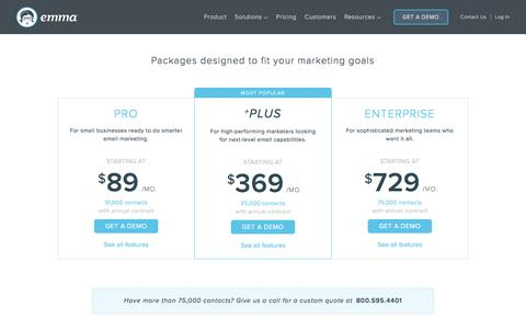 Screenshot of Pricing Page myemma.com - Emma Email Pricing   Emma Email Marketing - captured June 12, 2017